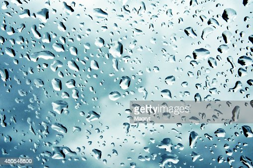 Natural, gotas de agua en vidrio de una ventana textura. : Foto de stock