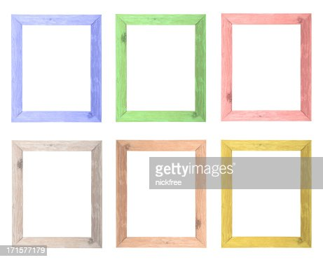 natural wood colored frames selection stock photo