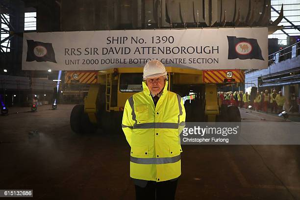 Naturalist Sir David Attenborough poses before the keellaying ceremony of the new polar research ship for Britain RRS Sir David Attenborough which is...