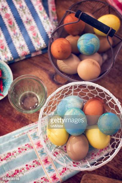 Naturally Dyed Easter Eggs in a Basket