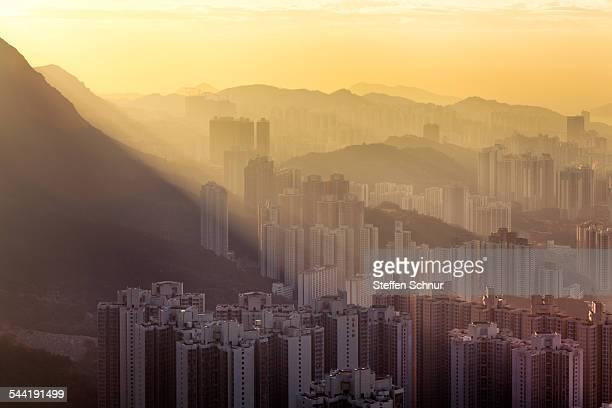 nature and mega city Hong Kong mountains sunrise