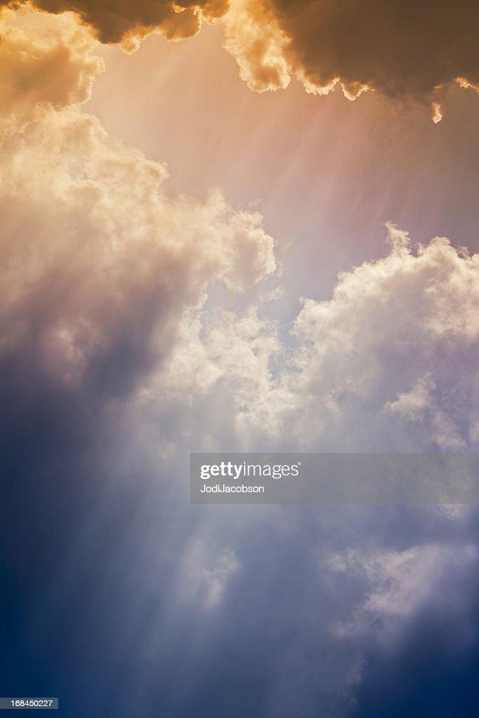 Nature background: Colorful setting sunrays : Stock Photo
