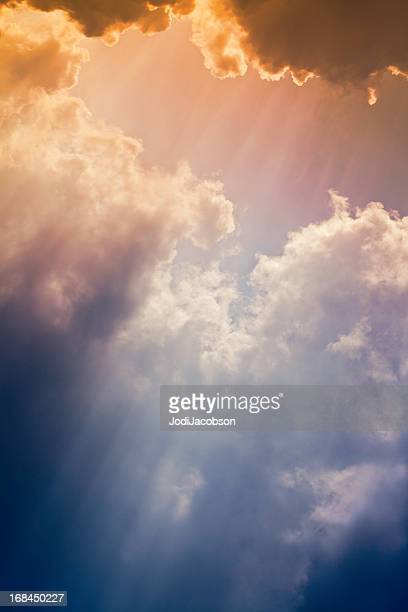Nature background: Colorful setting sunrays