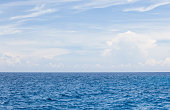 Nature background of Blue sea water and sky with cloud