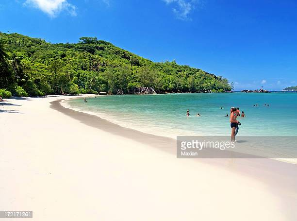 Nature photograph of tropical beach with calm waves