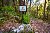 Nature reserve sign in the forest in Tovdal. Norwegian landscape in Aust-Agder, Aamli