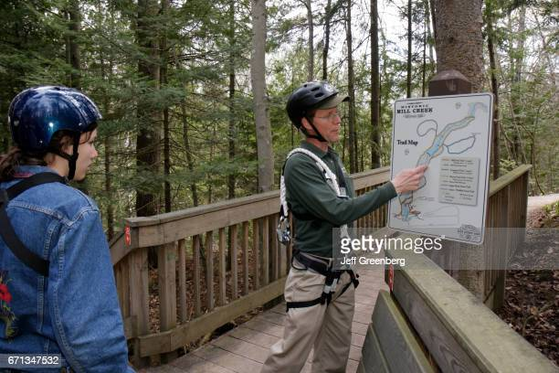 A nature trail map on the Forest Canopy Bridge at the Historic Mill Creek Discovery Park