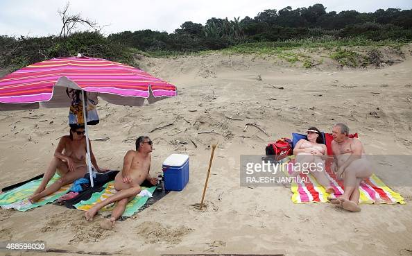Naturists relax during the Easter weekend at the Mpenjati beach some 155 kilometres south of Durban on April 04 2015 At the end of October 2014 the...