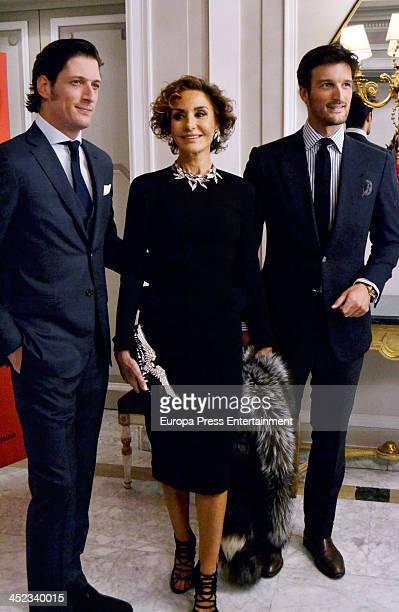 Naty Abascal and her sons Rafael Medina and Luis Medina attend the presentation of the style book '100% Naty' at Villamagna Hotel on November 26 2013...