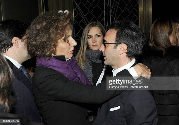 Naty Abascal Noelia Morgoton and Enrique Ponce attend the funeral chapel for Victoriano Cuevas at M30 Morgue on December 23 2014 in Madrid Spain