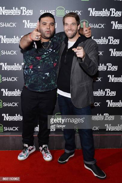 Naughty Boy and Mark Rosati during the launch of 'Shack Sounds' at Shake Shack Leicester Square on October 22 2017 in London England