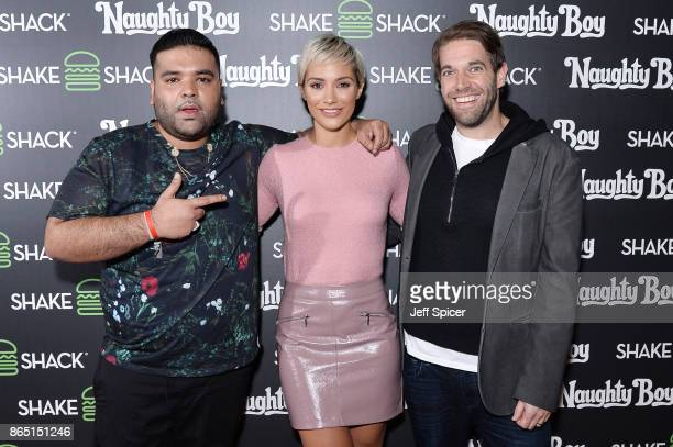 Naughty Boy Frankie Bridge and Mark Rosati during the launch of 'Shack Sounds' at Shake Shack Leicester Square on October 22 2017 in London England