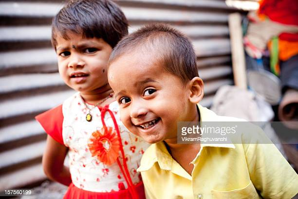 Naughty Brother Sister Cheerful Rural Indian Children Sibling Horizontal