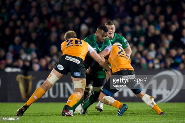 Naulia Dawai of Connacht tackled by Rynier Bernardo of Cheetahs during the Guinness PRO14 Round 8 rugby match between Connacht Rugby and Toyota...