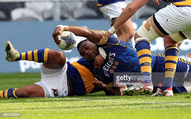 Naulia Dawai of Otago stretches out to attempt to score a try during the round nine ITM Cup match between Otago and Bay of Plenty at Forsyth Barr...