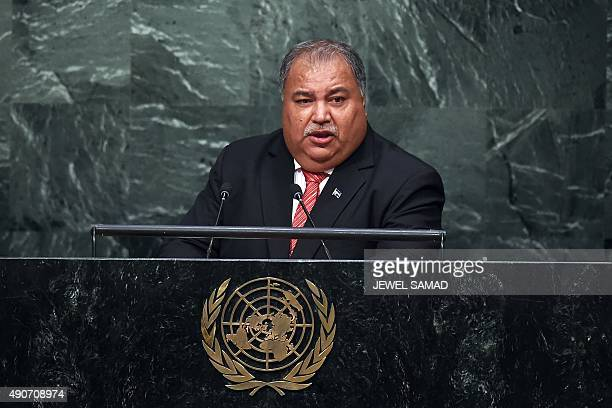 Nauru's President Baron Divavesi Waqa addresses the 70th Session of the United Nations General Assembly at the UN in New York on September 30 2015...