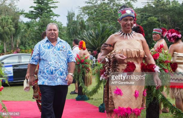 Nauru's Prime Minister Baron Waqa arrives for the opening of 48th Pacific Islands Forum in Apia Samoa on September 5 2017 The 48th PIF leaders...