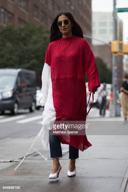 Nausheen Shah is seen attending Marchesa during New York Fashion Week wearing Marni on September 13 2017 in New York City