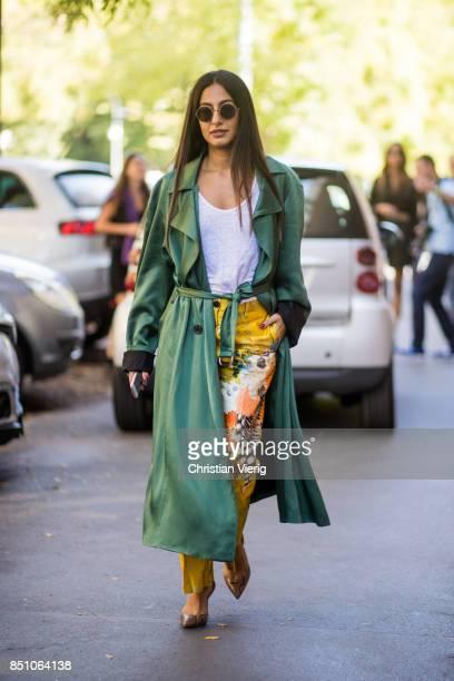 Nausheen Shah is seen outside Fendi during Milan Fashion Week Spring/Summer 2018 on September 21 2017 in Milan Italy
