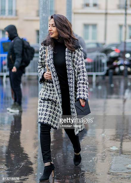 Nausheen Shah is seen wearing a boucle coat outside Anthony Vaccarello during the Paris Fashion Week Womenswear Fall/Winter 2016/2017 on March 1 2016...