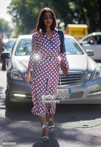 Nausheen Shah wearing Giulietta New York during Milan Fashion Week Spring/Summer 16 on September 25 2015 in Milan Italy