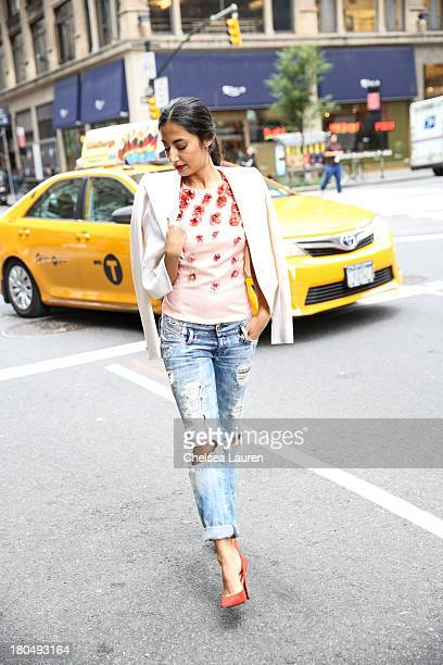 LOOK Nausheen Shah writer and stylist working with MarieClairecom and the New York Post wears a Bibhu Mohapatra Spring 2014 coral baby tulip tulle...