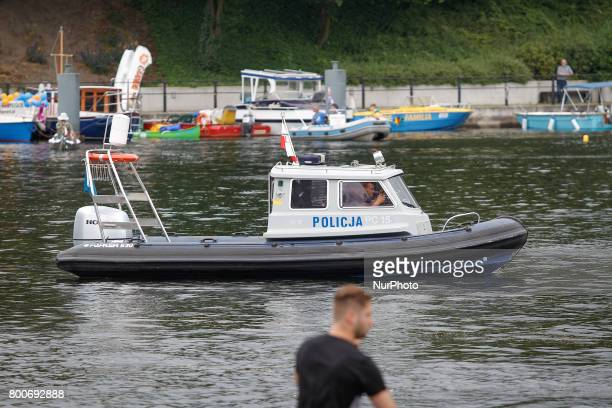 A nautical patrol boat is seen on the river Brda on 24 June 2017