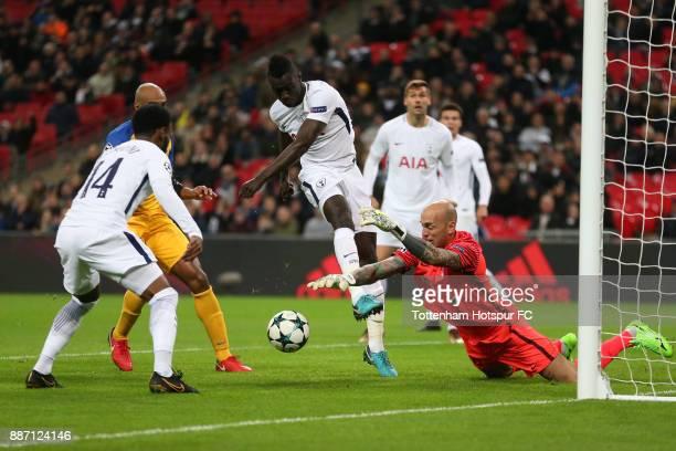 Nauzet Perez of Apoel FC saves from Davinson Sanchez of Tottenham Hotspur during the UEFA Champions League group H match between Tottenham Hotspur...