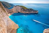 Famous Navagio beach with shipwreck on Zakynthos island in Greece