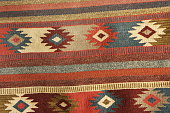 Navajo blanket woven wool design in deep pastel colors.  The Navajo stained their yarns for fabrics using natural items from the surroundings - beige from corn silk, tan from brown onion skin, maroon
