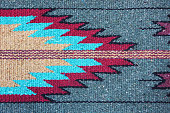 Navajo woven wool rug design. The Navajo stained their yarns for fabrics using natural items from the surroundings - beige from corn silk, tan from brown onion skin, maroon from Juniper bark, amber fr
