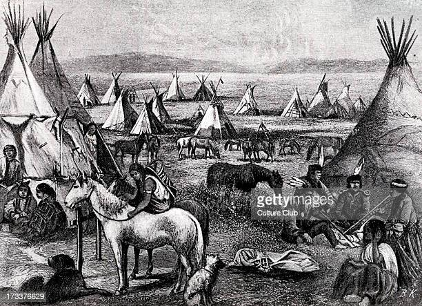Navajo Indians specifically 'Parushapats' encamped on the plains of Arizona c 1880s Illustration by Bohuslav Kroupa