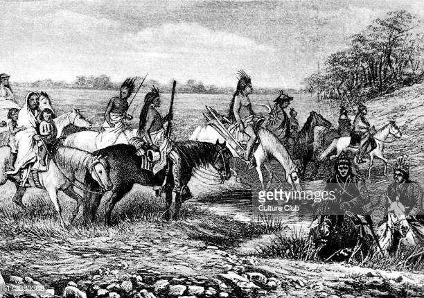 Navajo Indians specifically 'Parushapats' on the trail moving back across the border into Mexico looking for water c 1880s Illustration by Bohuslav...
