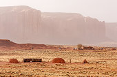 Navajo native american traditional hogans in Monument Valley tribal park