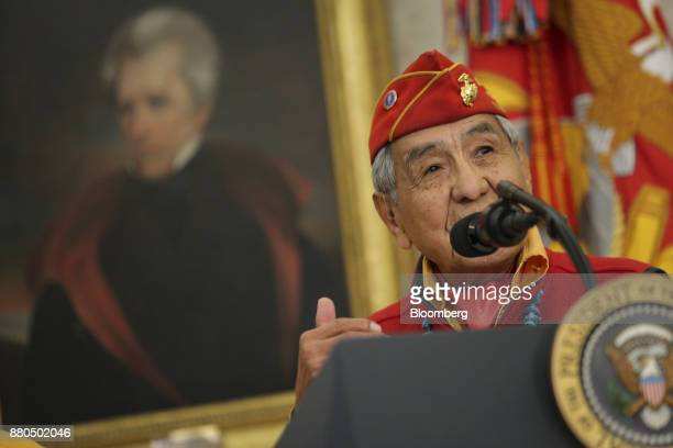 A Navajo World War II veteran speaks during an event honoring Native American 'Code Talkers' inside the Oval Officer of the White House in Washington...