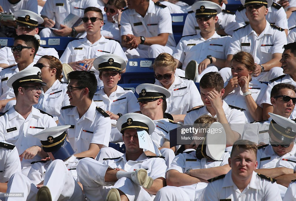 U.S. Naval Academys underclassmen attend graduation ceremonies at the U.S. Naval Academy May 27, 2016 in Annapolis, Maryland. U.S. Secretary of Defense Ashton Carter is this year's commencement speaker.