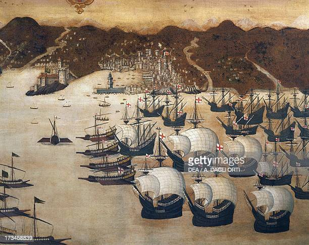 Naval battle between the Genovese fleet and the French fleet in the waters off Genoa by Giorgio Vigne oil on canvas 100x151 cm Italy 16th century...