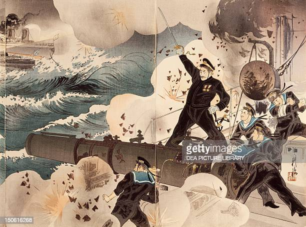 Naval Battle of Port Arthur March 10 the Japanese Navy's artillery Detail RussoJapanese War China 20th century