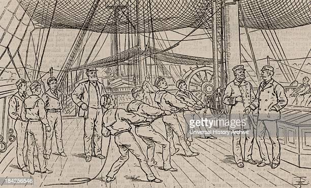 Naval cadets on the Royal Navy training ship HMS Worcester Hauling on reefing tackle during sailing drill Woodcut London 1888