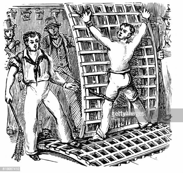 British sailor tied to the grating being flogged with CatONineTails In 1867 Parliament abolished flogging in the serices 19th century wood engraving