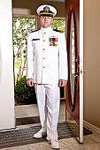 Naval Officer Standing in Doorway