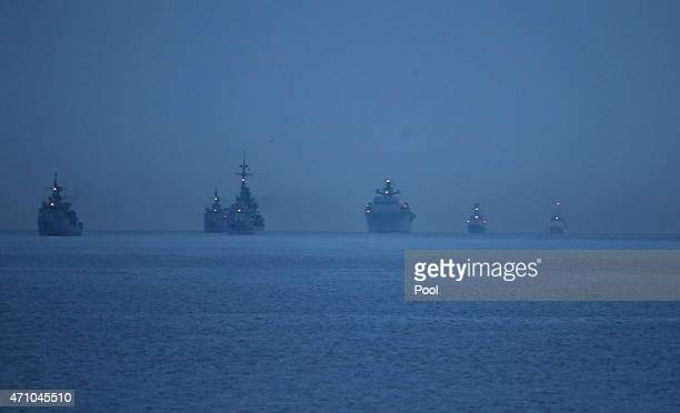 Naval ships are positioned off the coast during a ceremony marking the 100th anniversary of the Battle of Gallipoli at Anzac Cove on April 25 2015 in...