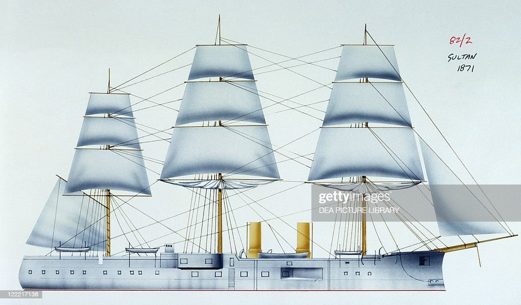 Naval ships - British Royal Navy ironclad HMS Sultan, 1870. Color illustration.