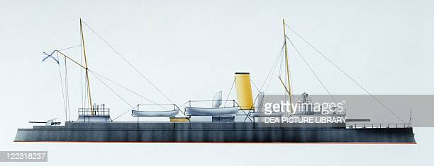 Naval ships Imperial Russian Navy armored gunboat Grozyaschiy 1890 Color illustration