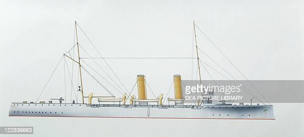 Naval ships Spanish Navy protected cruiser Extremadura 1900 Color illustration