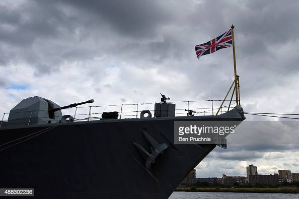 A naval vessel is on display during the Defence and Security Exhibition 2015 at ExCel on September 15 2015 in London England This year the Defence...