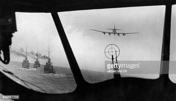 2WW Naval war Atlantic/ North Sea Minelayer units escorted by german FW 200 long range sea reconnaissance plane 1941 Photographer Willi Ruge Vintage...