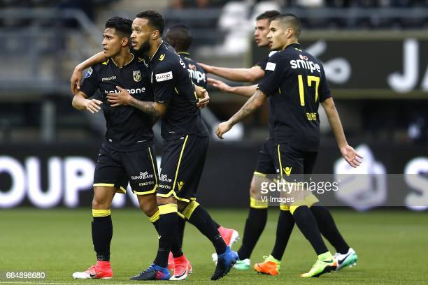 Navarone Foor of Vitesse Arnhem scored Lewis Baker of Vitesse Arnhemduring the Dutch Eredivisie match between Heracles Almelo and Vitesse Arnhem at...