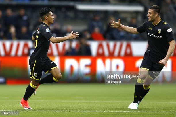 Navarone Foor of Vitesse Arnhem scored Matthew Miazga of Vitesse Arnhemduring the Dutch Eredivisie match between Heracles Almelo and Vitesse Arnhem...
