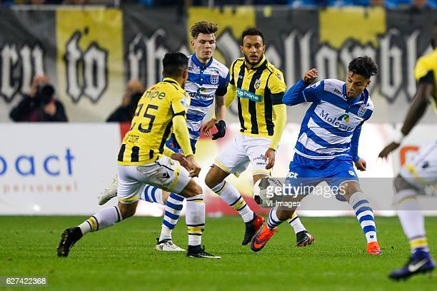 Navarone Foor of Vitesse Django Warmerdam of PEC Zwolle Lewis Baker of Vitesse Hachim Mastour of PEC Zwolleduring the Dutch Eredivisie match between...